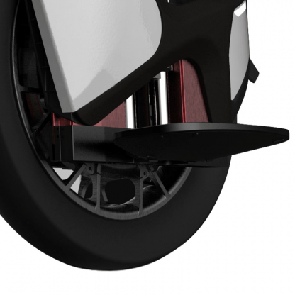 Side bottom view of white new 2020 kingsong s18 84v 2200w 1110wh 18 inch air suspension electric unicycle freemotion shop
