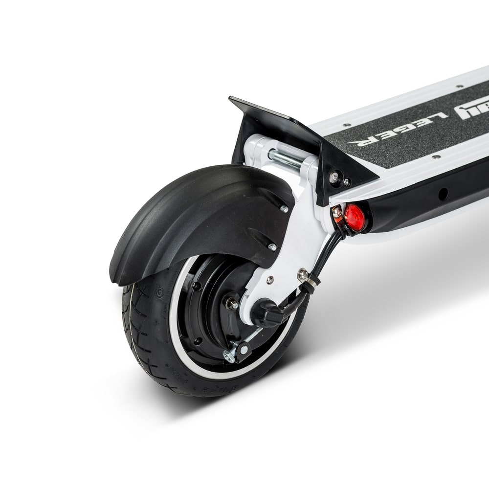 white speedway leger 85 inch electric scooter rear-min