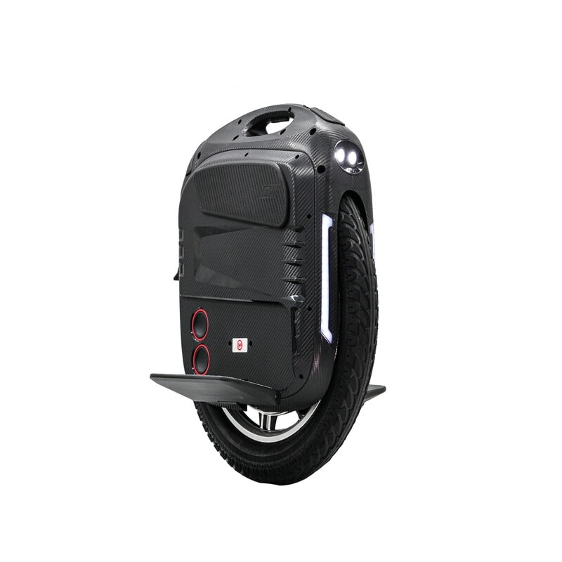 black gotway rs e-unicycle with headlights and speakers