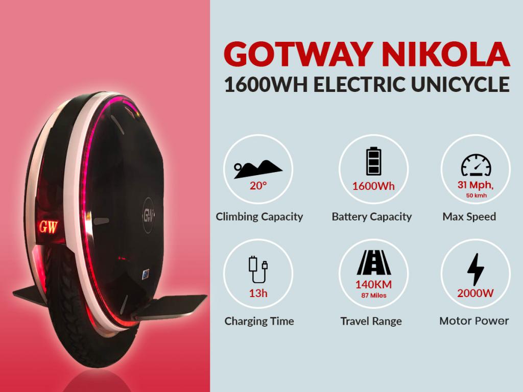 gotway nikola electric unicycle specs