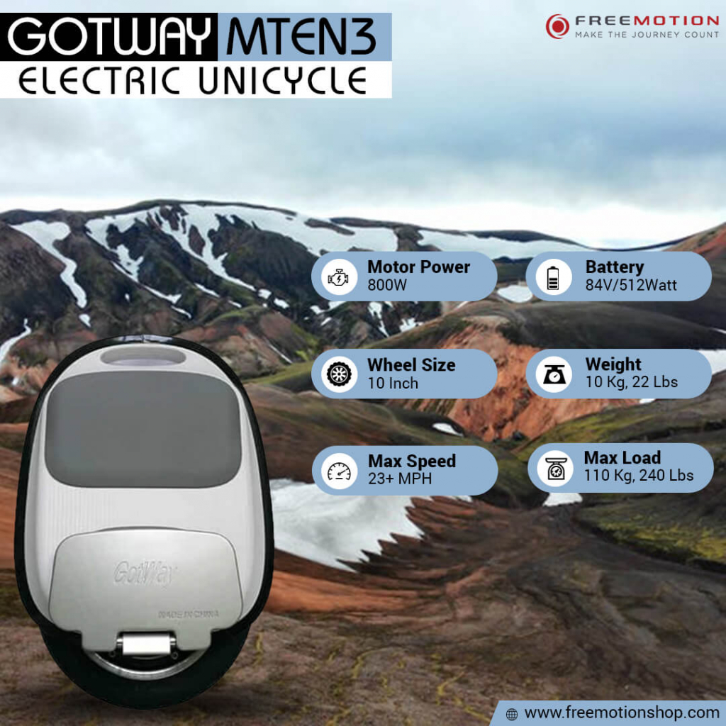 gotway mten3 10 inches electric unicycle specs